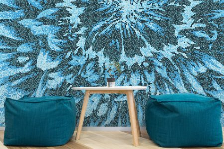 Blue Blooms Modern Floral Mosaic installation by Artaic
