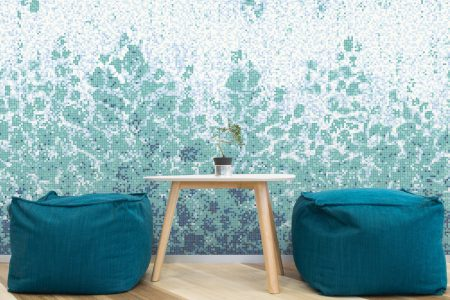 Blue vines Modern Floral Mosaic installation by Artaic