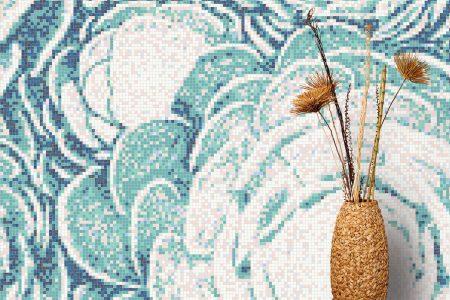 Blue ornamental Modern Floral Mosaic installation by Artaic