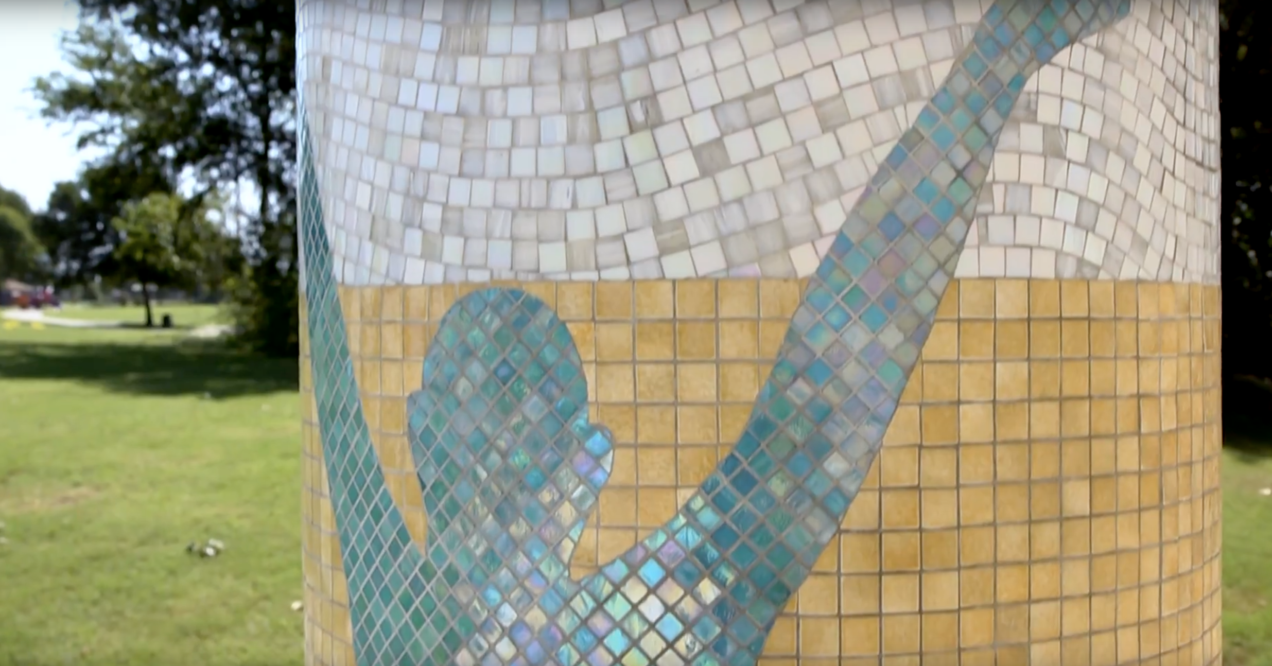 Mosaic creation for Ford Pool in Allen, Texas created by Joshua Winer