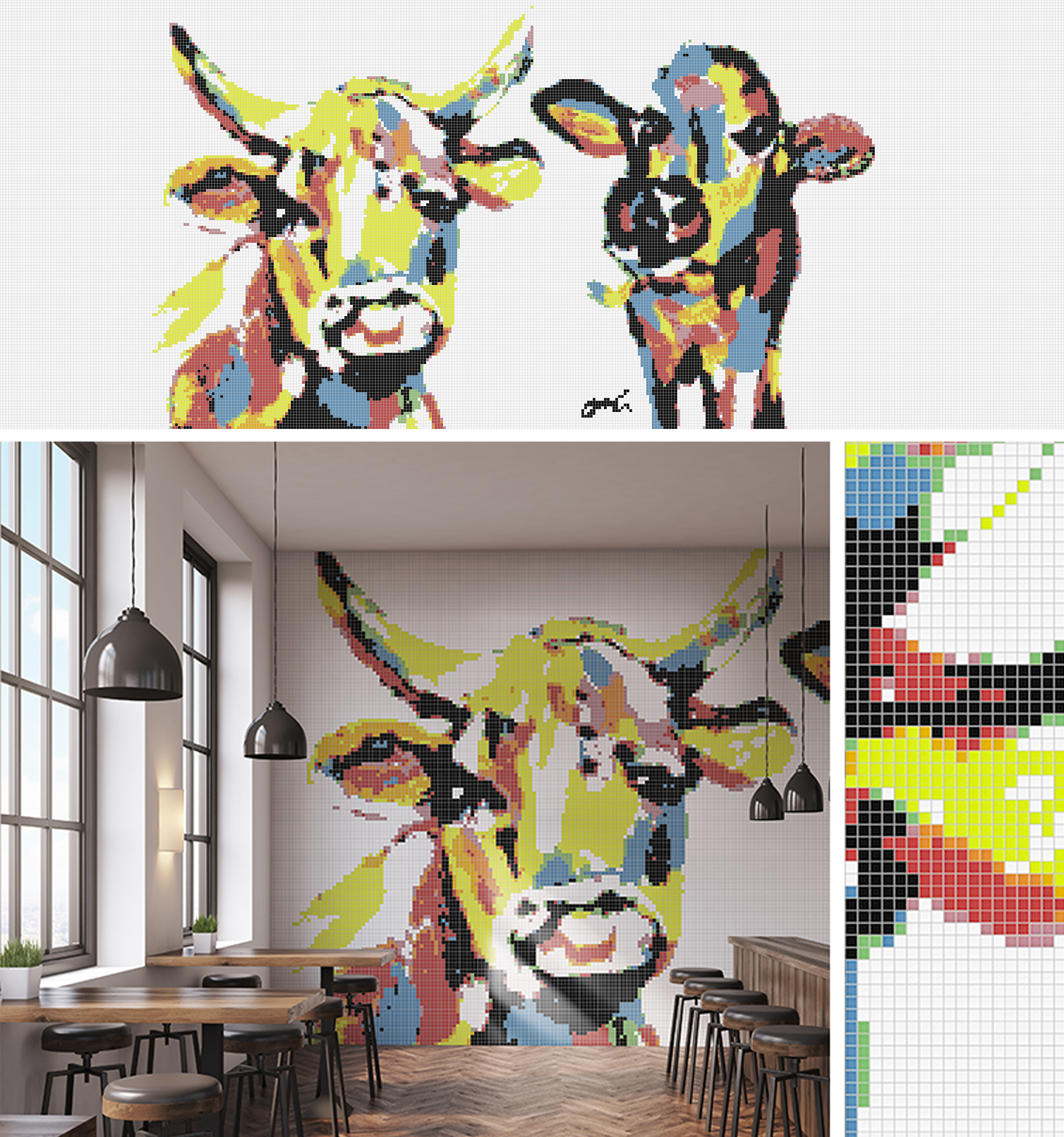 Cow imagery painting turned mosaic in cafe collage