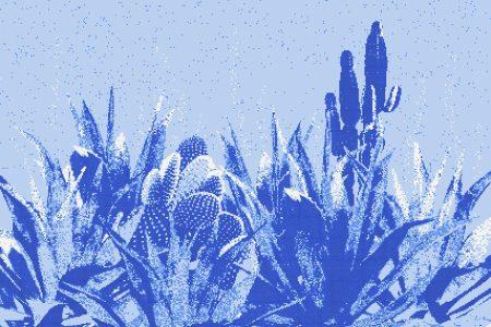 Blue Cacti Modern Floral Mosaic by Artaic