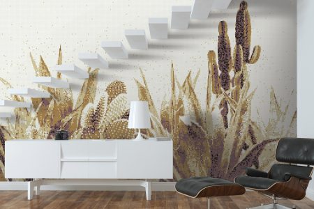 Gold Cacti Modern Floral Mosaic installation by Artaic