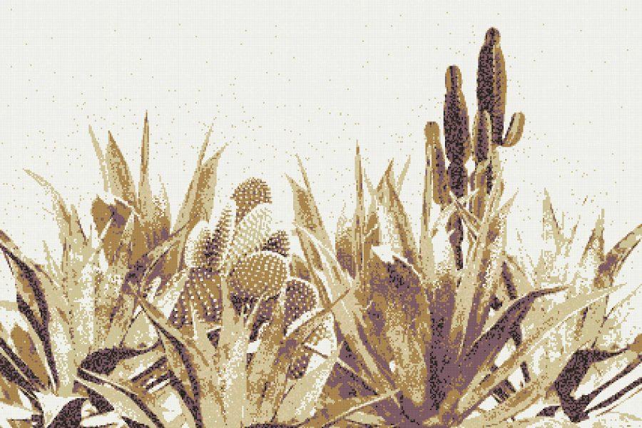 Gold Cacti Modern Floral Mosaic by Artaic