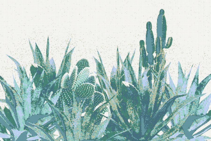 Green Cacti Modern Floral Mosaic by Artaic