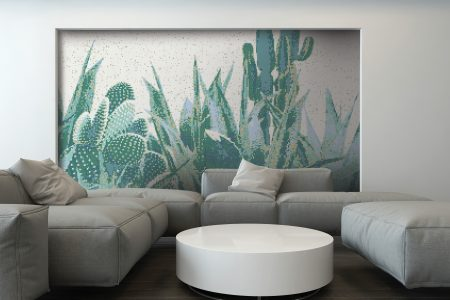 Green Cacti Modern Floral Mosaic installation by Artaic