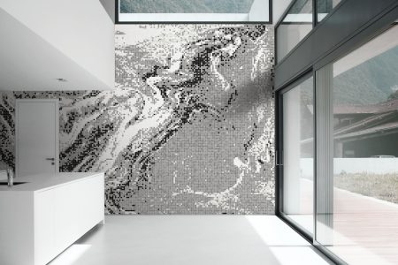Grey emulsion Contemporary Abstract Mosaic installation by Artaic