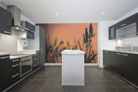 Orange Cacti Modern Floral Mosaic installation by Artaic