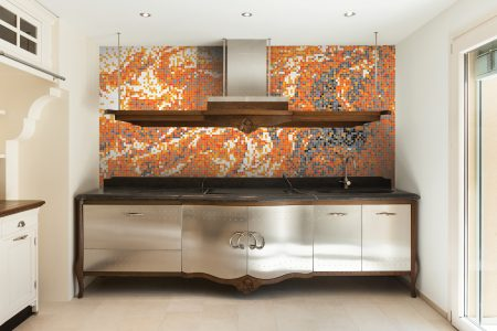 Red emulsion Contemporary Abstract Mosaic installation by Artaic