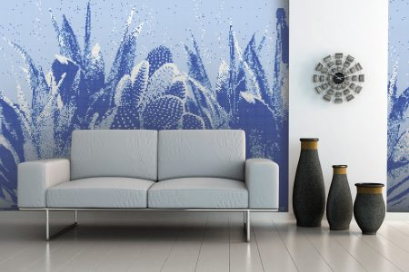 Blue Cacti Modern Floral Mosaic installation by Artaic