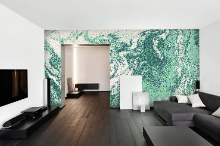 Green emulsion Contemporary Abstract Mosaic installation by Artaic