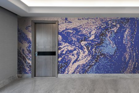 Blue emulsion Contemporary Abstract Mosaic installation by Artaic