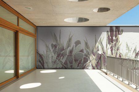 Neutral Cacti Modern Floral Mosaic installation by Artaic