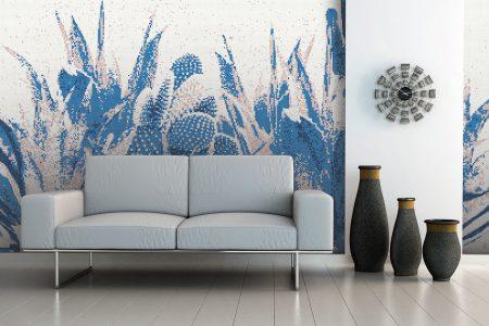 Pink Cacti Modern Floral Mosaic installation by Artaic