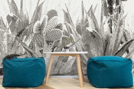 Grey Cacti Modern Floral Mosaic installation by Artaic