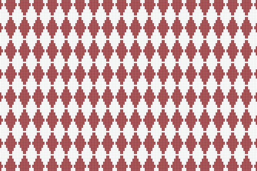 Red Repeating Contemporary Geometric Mosaic by Artaic