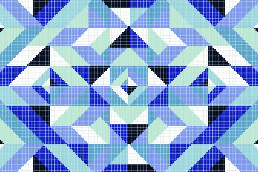 Blue Repeating Contemporary Graphic Mosaic by Artaic