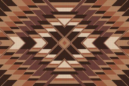 Brown Repeating Contemporary Geometric Mosaic by Artaic
