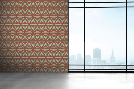 Tan Repeating Contemporary Geometric Mosaic installation by Artaic