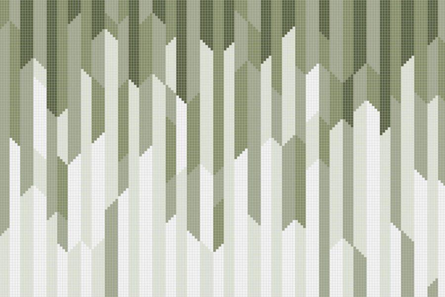 Green Repeating Contemporary Geometric Mosaic by Artaic