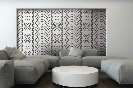 White Repeating Contemporary Geometric Mosaic installation by Artaic