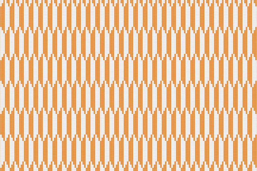 Orange Repeating Contemporary Geometric Mosaic by Artaic