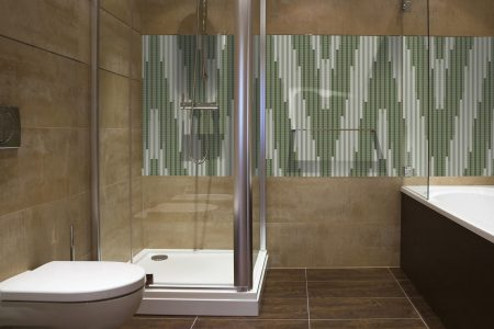 Green Repeating Contemporary Geometric Mosaic installation by Artaic