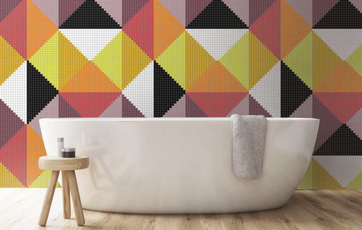 Orange Repeating Contemporary Graphic Mosaic installation by Artaic