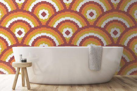 Orange Repeating Contemporary Geometric Mosaic installation by Artaic