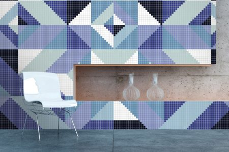 Blue Repeating Contemporary Graphic Mosaic installation by Artaic