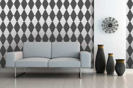Grey Repeating Contemporary Geometric Mosaic installation by Artaic