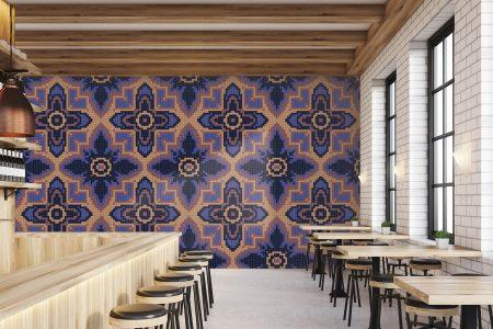 Purple Repeating Contemporary Geometric Mosaic installation by Artaic