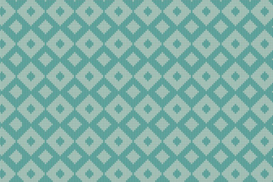 Turquoise Repeating Contemporary Geometric Mosaic by Artaic