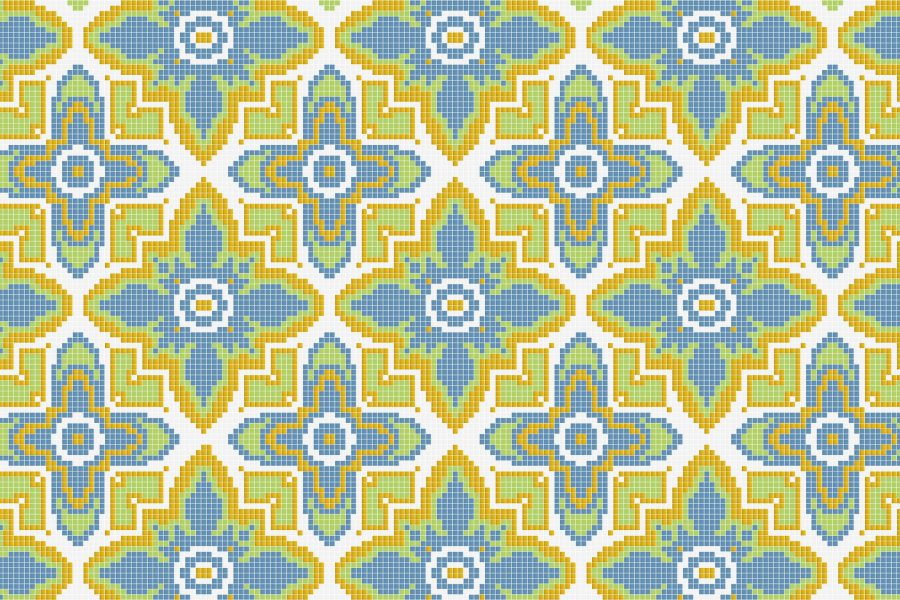 Yellow Repeating Contemporary Geometric Mosaic by Artaic
