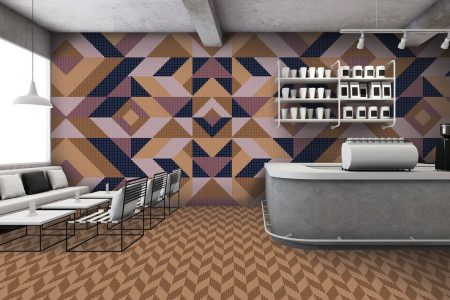 Purple Repeating Contemporary Graphic Mosaic installation by Artaic
