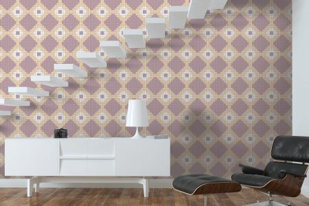 Pink Repeating Contemporary Geometric Mosaic installation by Artaic