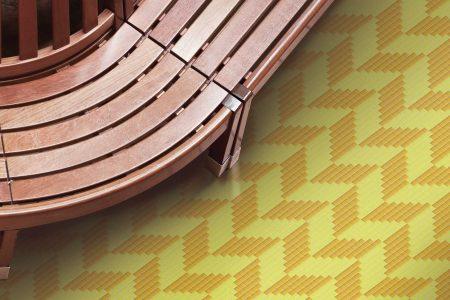 Yellow Repeating Contemporary Geometric Mosaic installation by Artaic