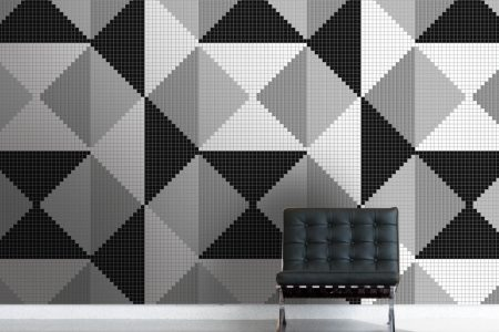Black Repeating Contemporary Graphic Mosaic installation by Artaic