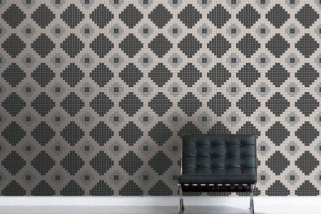 Neutral Repeating Contemporary Geometric Mosaic installation by Artaic