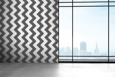 Grey Repeating Contemporary Geometric Mosaic installation by Artaic