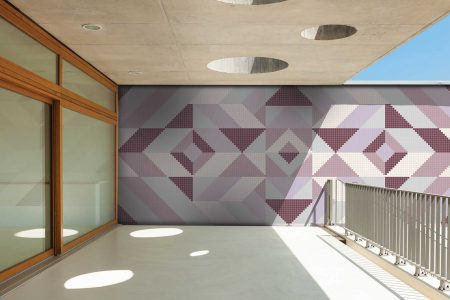 Pink Repeating Contemporary Graphic Mosaic installation by Artaic