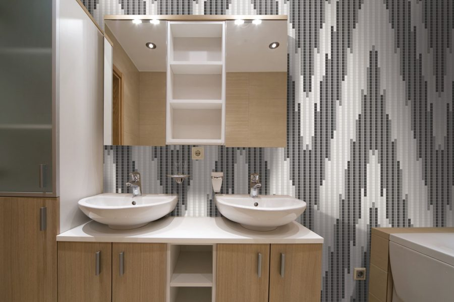 Attractive ... White Repeating Contemporary Geometric Mosaic Installation By Artaic ...