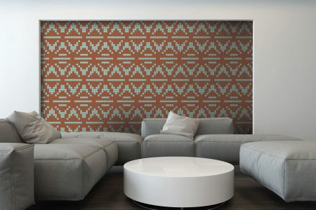 Tan Repeating Contemporary Geometric Mosaic installation by Artaic