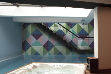 Green Repeating Contemporary Graphic Mosaic installation by Artaic