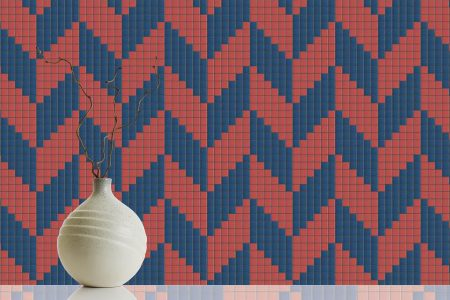 Red Repeating Contemporary Geometric Mosaic installation by Artaic