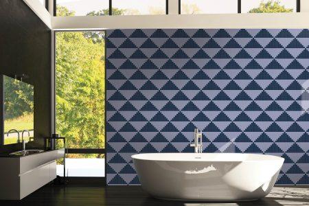 Blue Repeating Contemporary Geometric Mosaic installation by Artaic