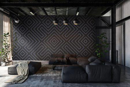 Black Repeating Contemporary Geometric Mosaic installation by Artaic