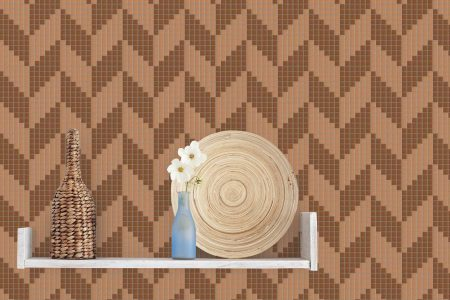 Brown Repeating Contemporary Graphic Mosaic installation by Artaic