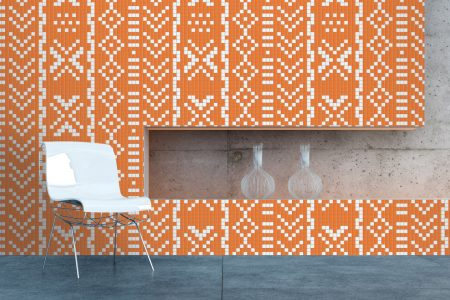 Orange Repeating Contemporary Geometric Mosaic installation by Artaic