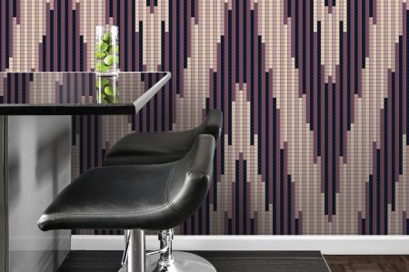 Purple Repeating Contemporary Geometric Mosaic installation by Artaic